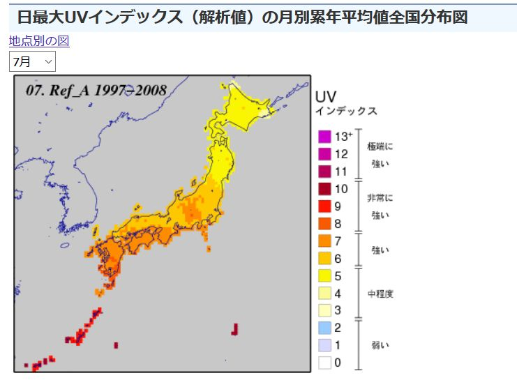 日最大UVインデックスの月別累年平均値全国分布図